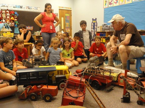 Cute idea-- vintage toy collector shows off his collection to kids! Could be fun at a party too on Western Springs, IL Patch blog