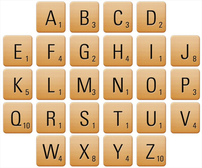 Scrabblealfabet om te printen