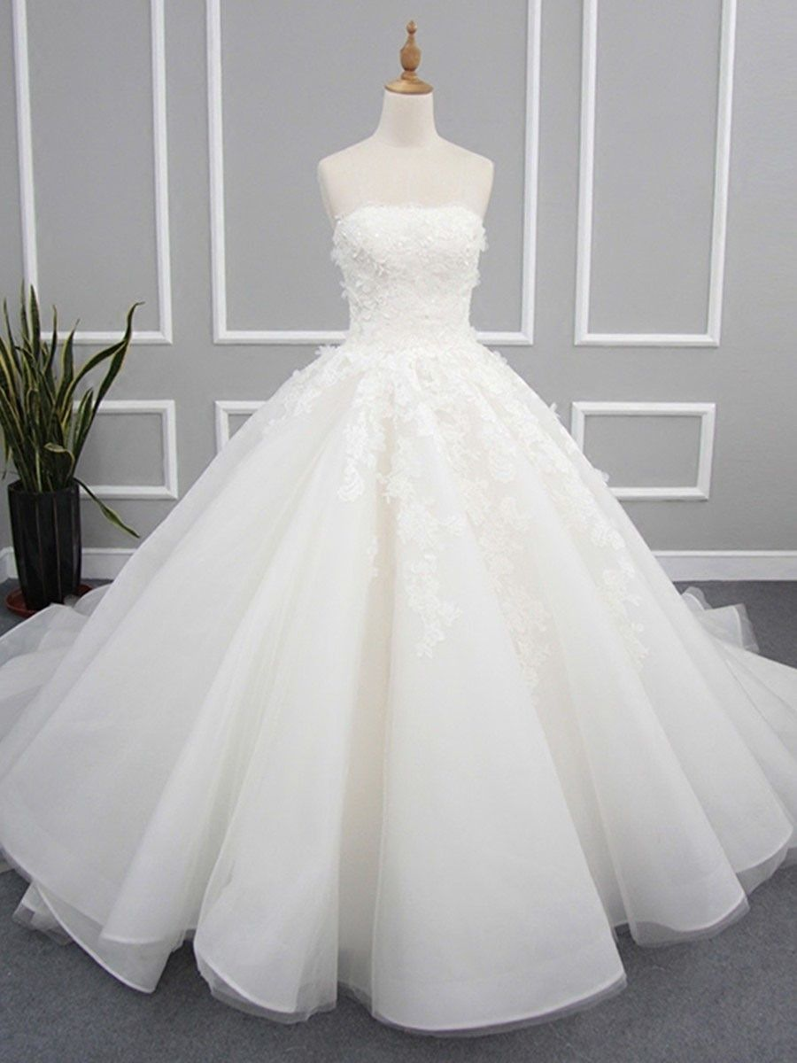 Bridal gowns with red accents  Ball Gown Strapless Organza Tulle Chapel Train with Appliques Lace