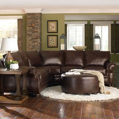 No    Color Scheme Chocolate Brown Leather Sectional, Green Walls