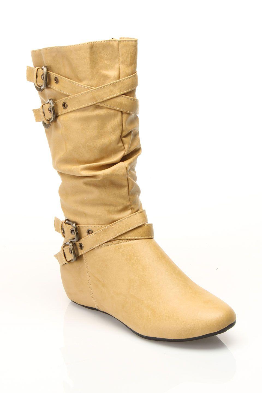 Jacobies El 5 Flat Boot In Beige - Beyond the Rack