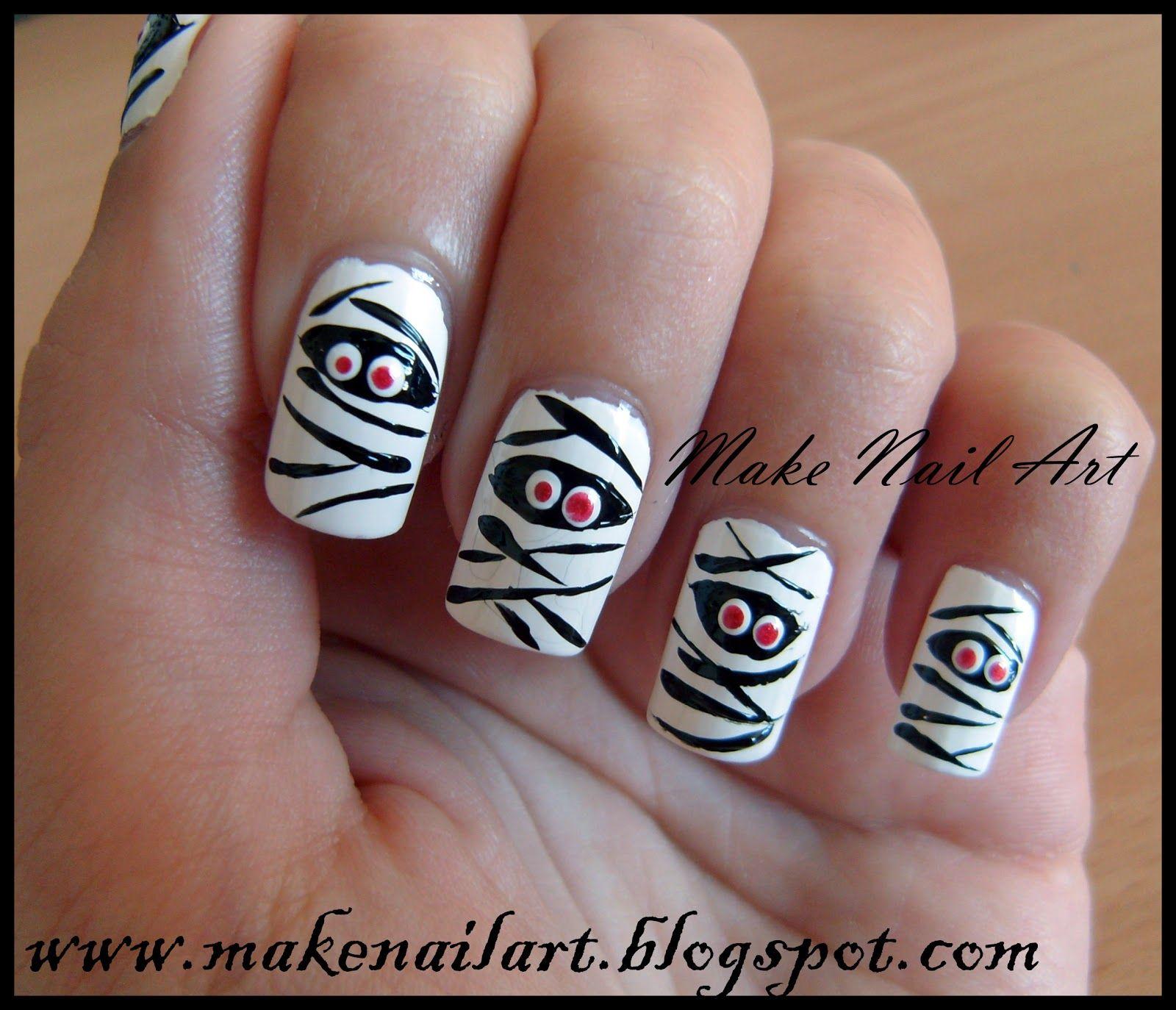 Make Nail Art: Mummy Nail Art Tutorial Great for Halloween time