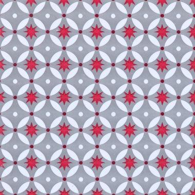 dalle de sol pvc auto-adhésive décor imprimé vintage, red stars