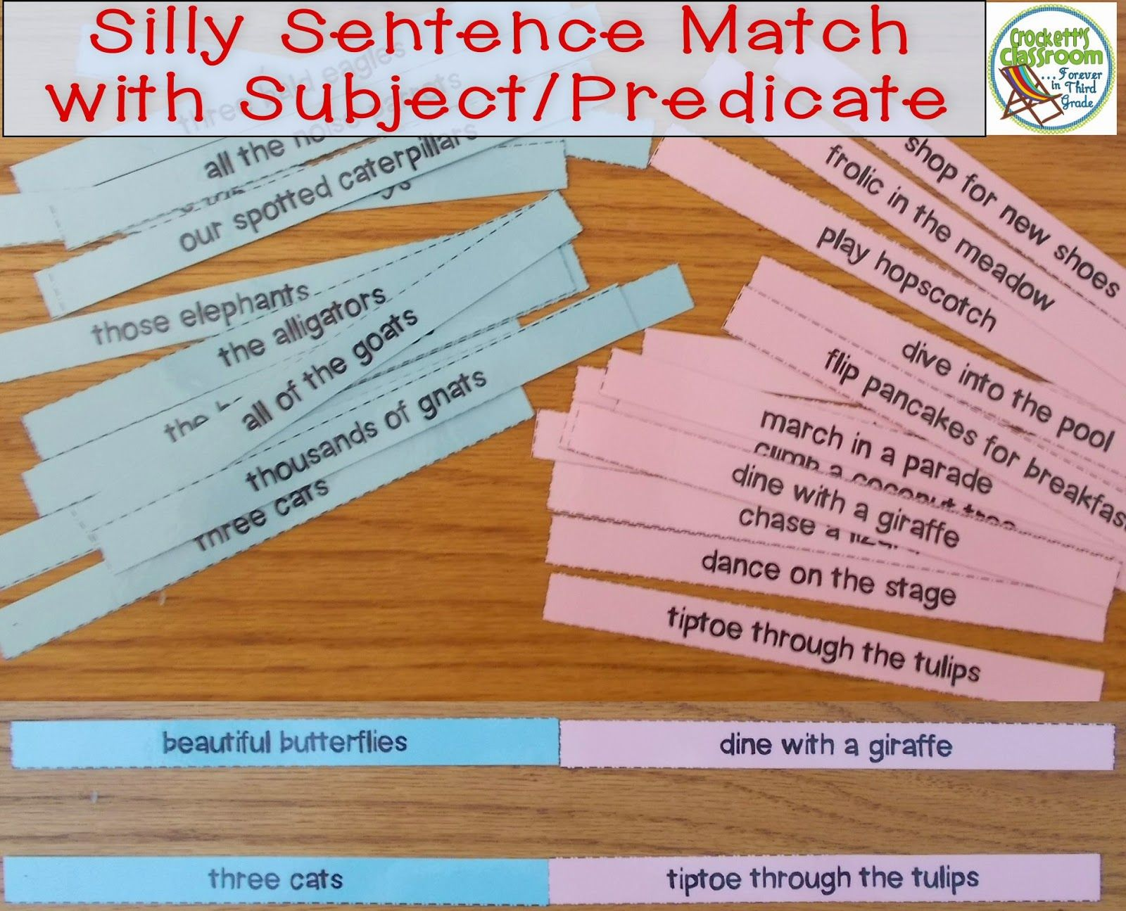 Silly Sentence Match Up With Subjects And Predicates Crockett S Classroom