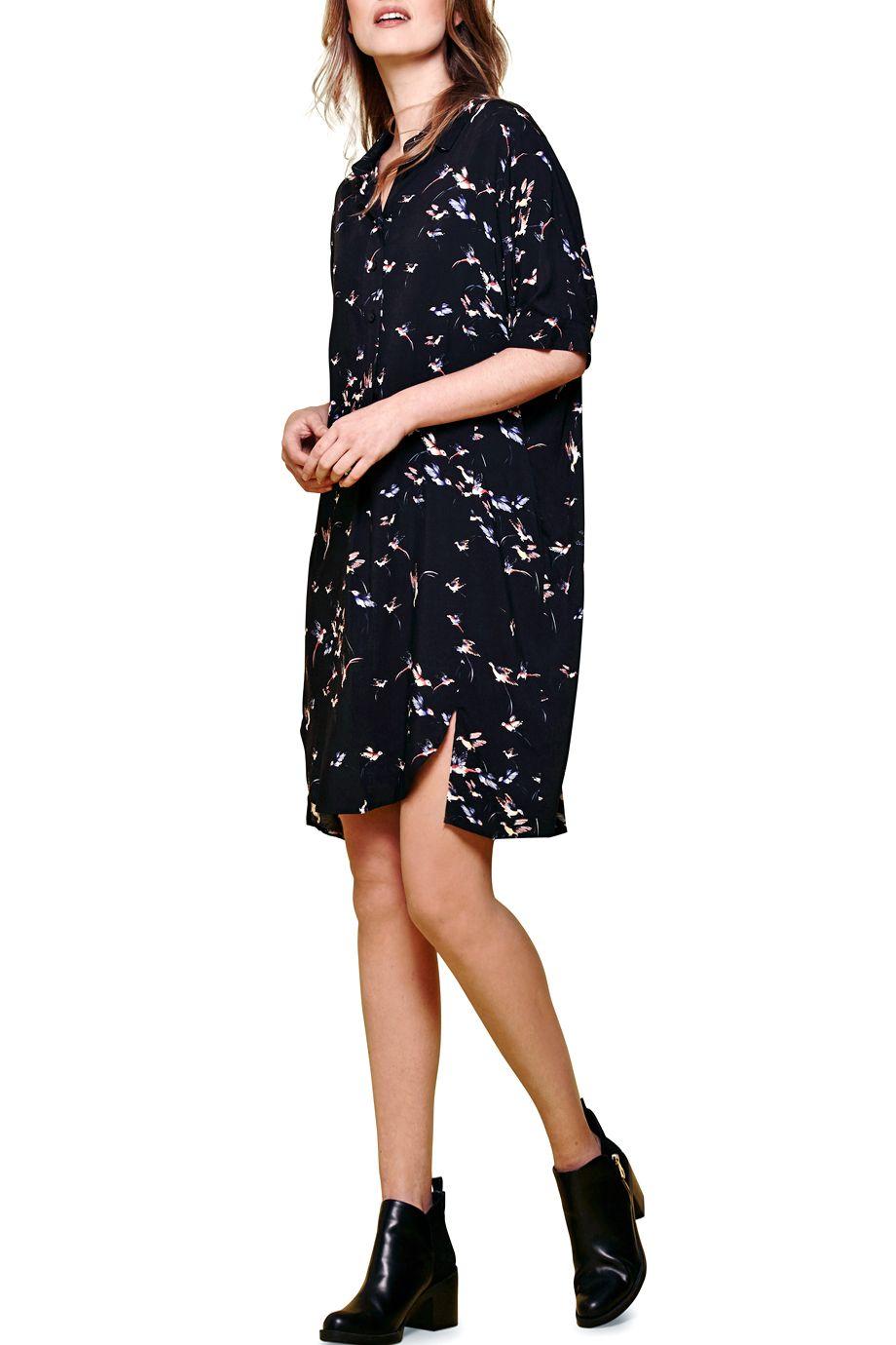 Σεμιζιε oversized φόρεμα με τυπωμα πουλακια σε χυτο 66e9b1618cb