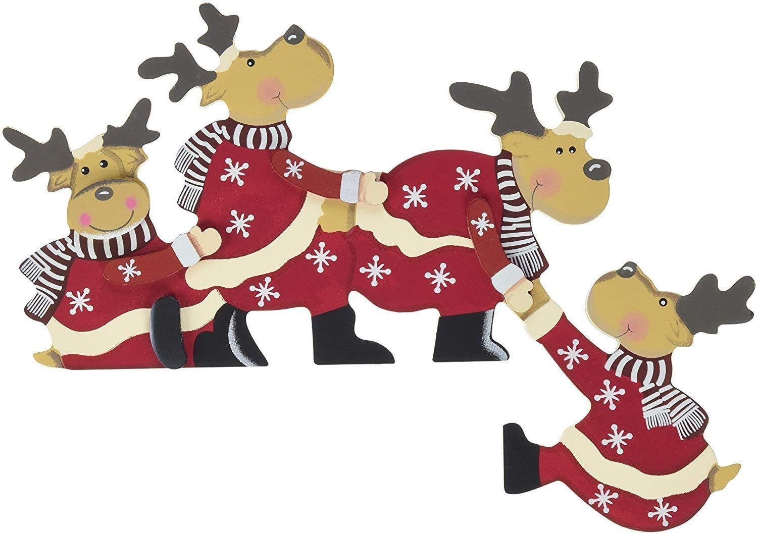 Khevga Weihnachtsdeko Purzelnde Elche Fur Turrahmen Deko Aus Holz Purzelnde Elche Farbe Purz Turdekoration Weihnachten Weihnachtsturschmuck Rahmen Dekoration