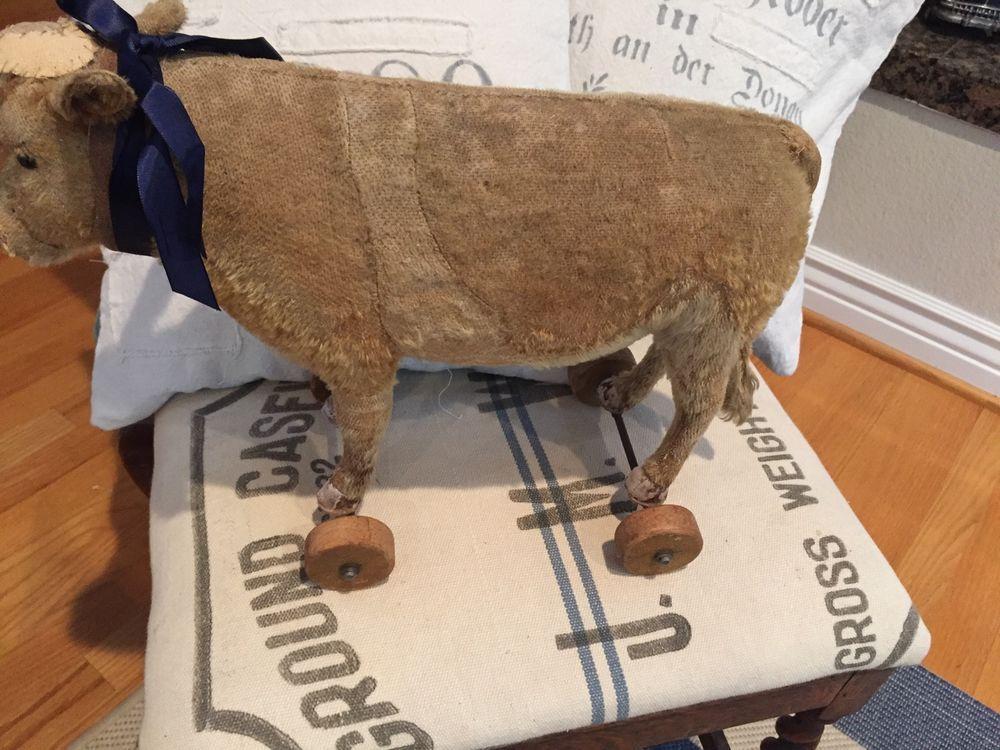Rare Steiff Cow Pull Toy ff Button~ Steiff Wheels~ Wonderful /Rare Toy  | eBay