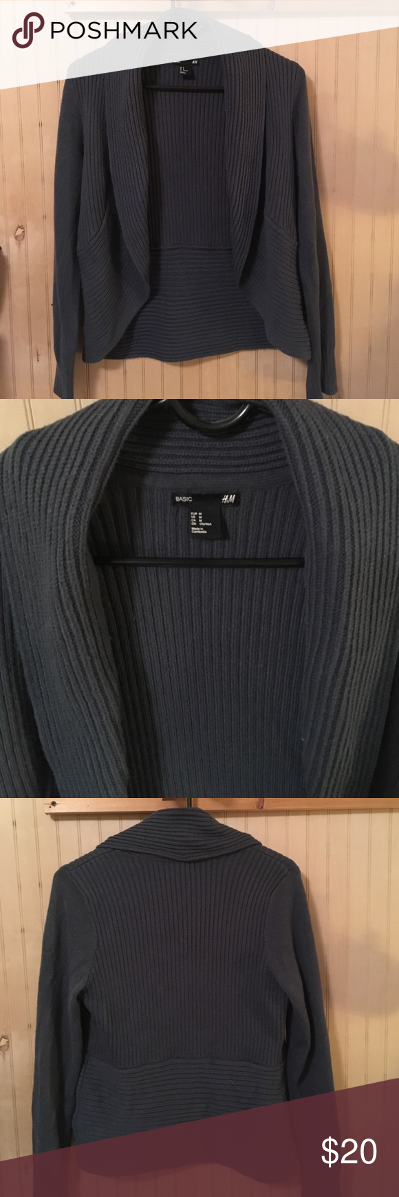 H&M Sweater Blue ribbed H&M sweater. Used but still in good shape. Really warm and soft with a flattering cut. Size M H&M Sweaters Cardigans