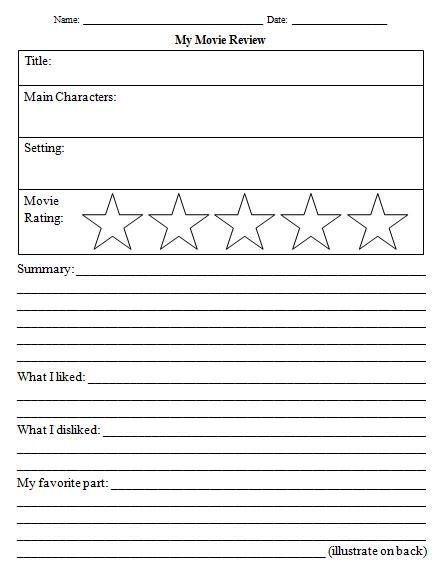 Movie Review Template for Kids School Days Book review template
