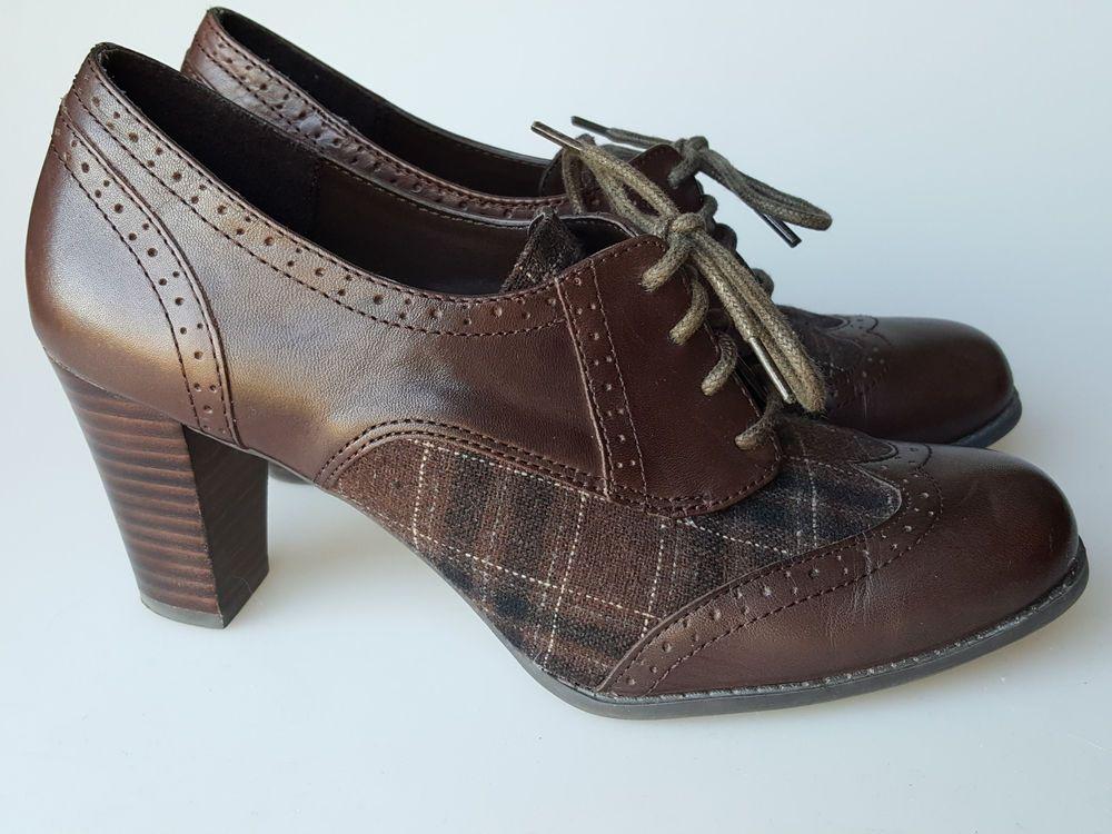 e30dfa9d9a7 Etienne Aigner shoes 7 M brown leather and plaid fabric oxford heels Quest   EtienneAigner  Heels