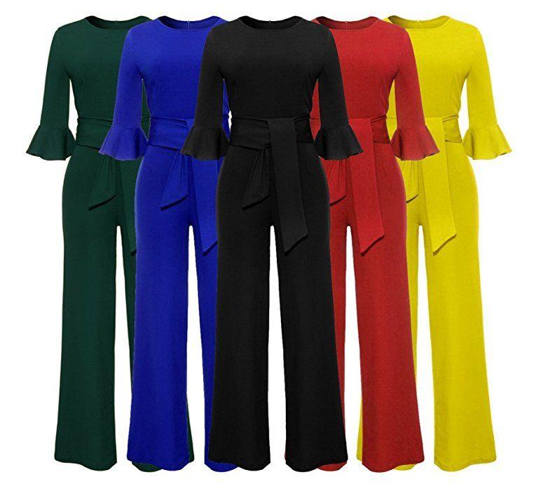 81c2ce63e958 Amazon.com  Corala Women Solid Long Sleeve Wide Leg Long Jumpsuits Romper  Pants with Belt