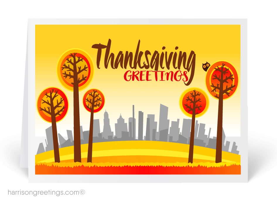 Business Thanksgiving Greeting Cards   Retro Modern Thanksgiving ...