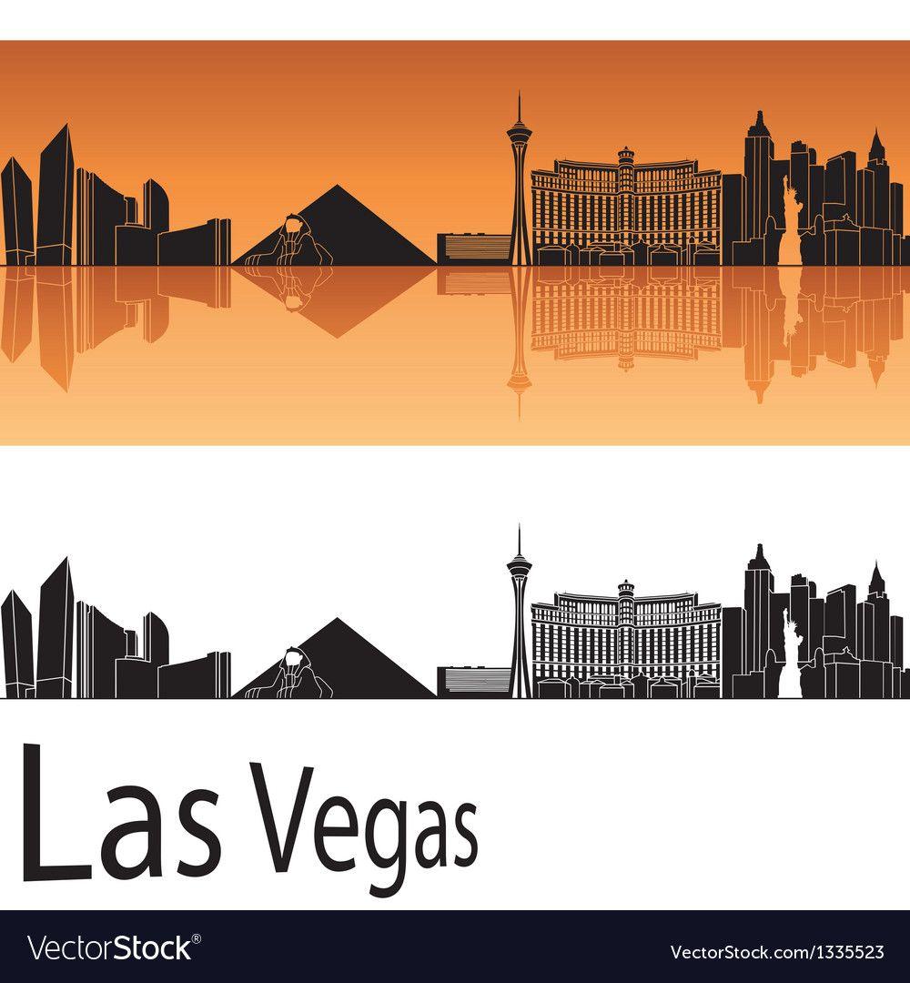 Las Vegas Skyline In Orange Background Royalty Free Vector Ad Skyline Orange Las Vegas Ad In 2020 St Louis Skyline Cincinnati Skyline Kansas City Skyline