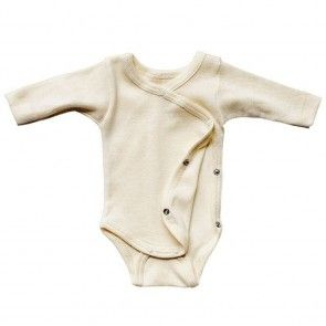 Wrap Over Premature Baby Bodysuit Or Vest In Organic Wool Silk For