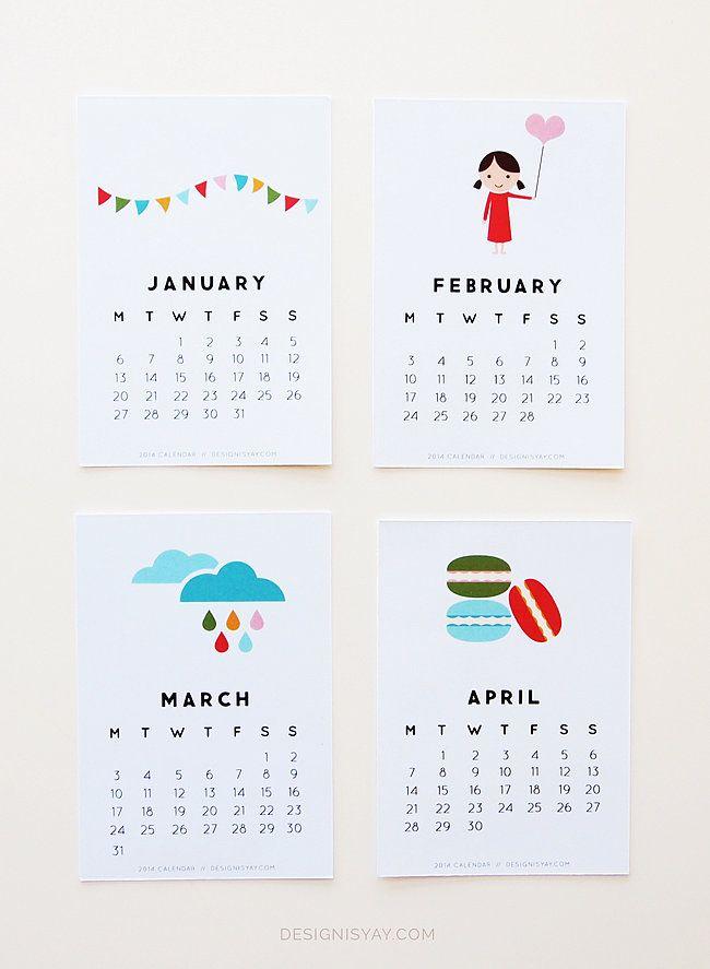 12 Cute Free Printable Calendars For 2014 Free Printable Calendar