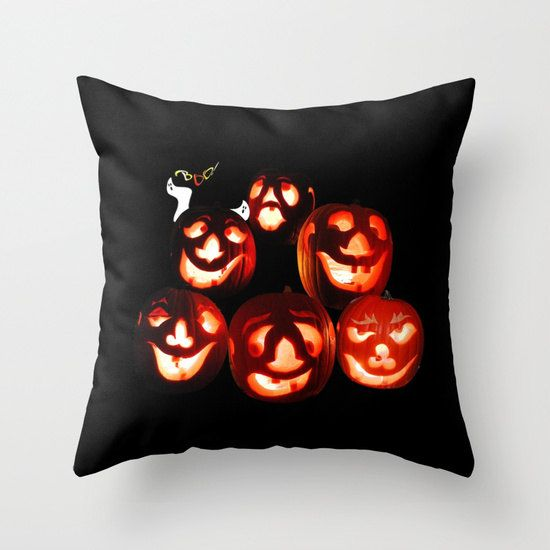 Jack o lanterns throw pillow cover, Halloween decor, black and orange wall decoration, pumpkins, ghost, boo, spooky decor by RVJamesDesigns on Etsy
