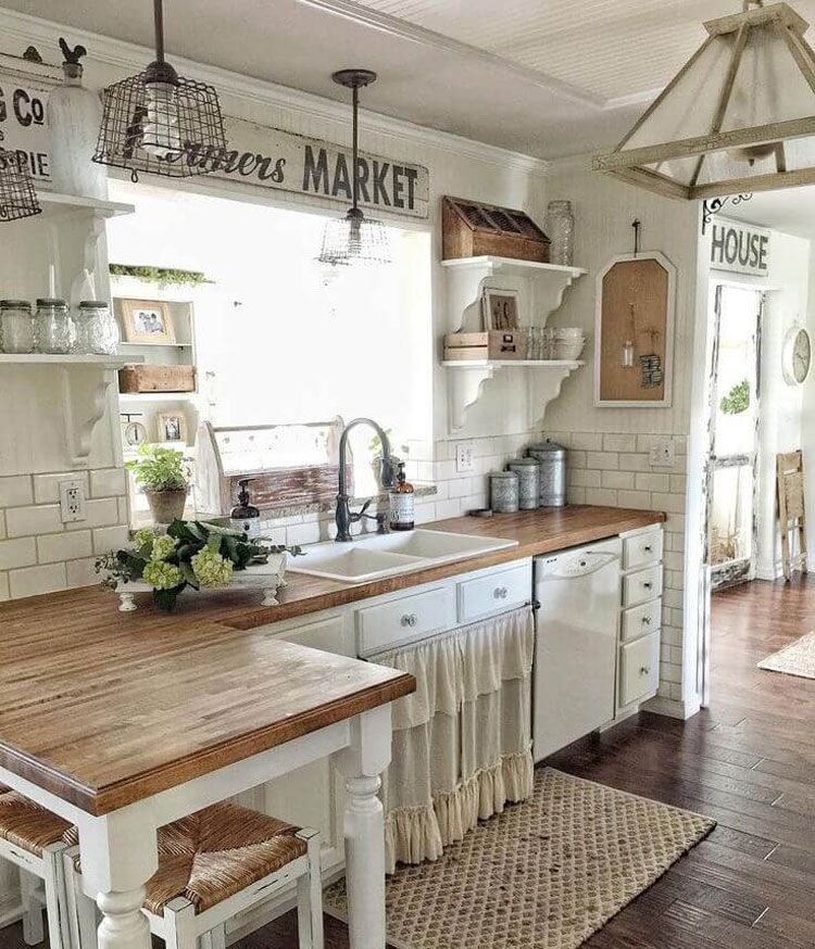 75 Best Rustic Farmhouse Decor Ideas + Modern Country Styles (2020) - Farmhouse kitchen decor, Kitchen remodel small, Farmhouse style kitchen, Kitchen style, Farmhouse style kitchen cabinets, Kitchen cabinet styles - If you love farmhouse decor, then imagine your country style home with these beautiful decorating ideas for your living room, kitchen, bedroom, bathroom, walls, furniture and more  Whether you're building, remodeling or just redecorating, rustic farmhouse interior design can take your living space to the next level  From modern and chic to rustic and vintage, …