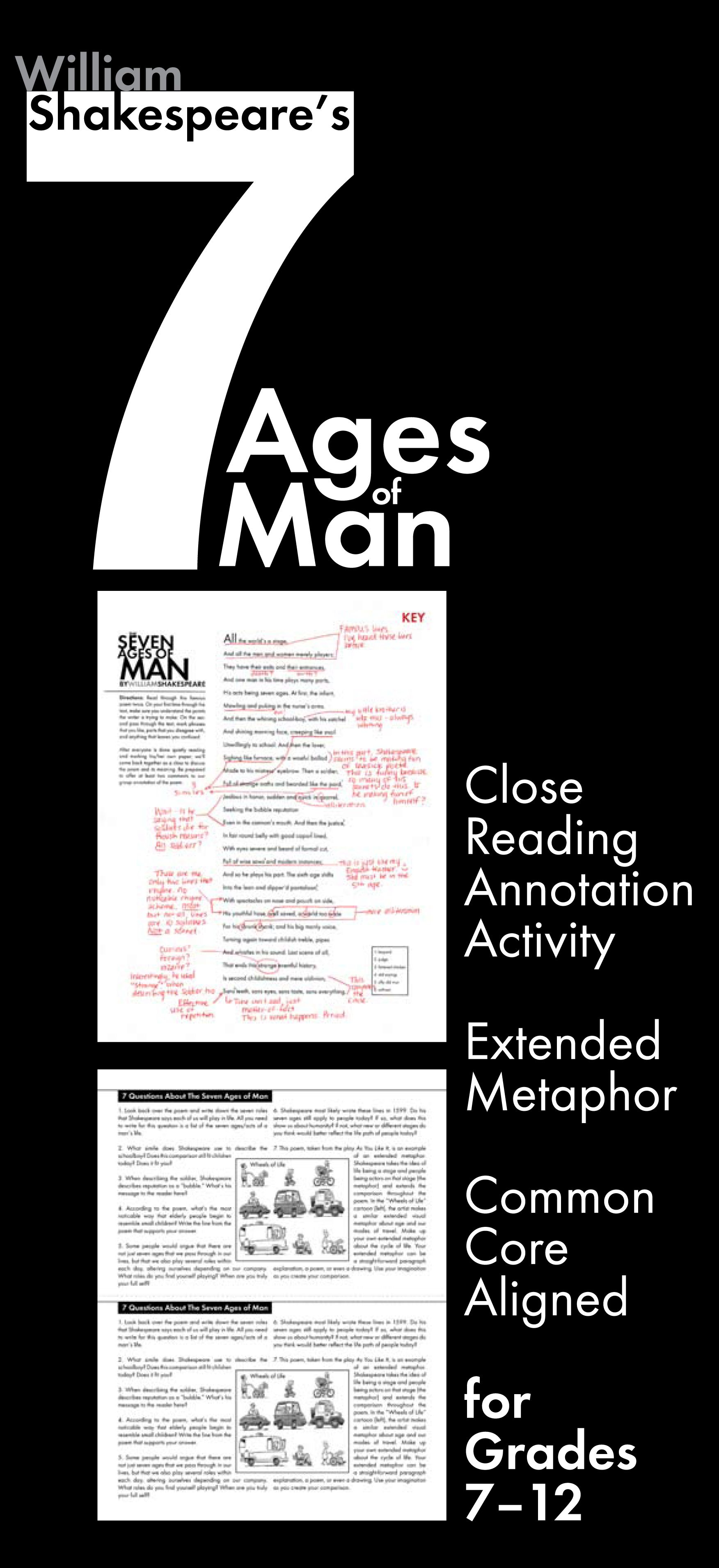 Seven Ages Of Man Use Shakespeare S Poem To Teach Extended Metaphor Ccss