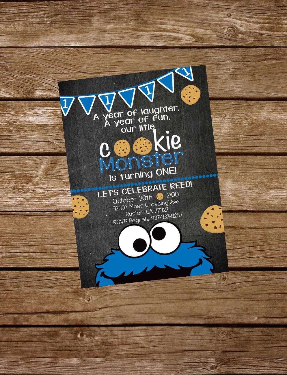 wording ideas forst birthday party invitation%0A Cookie Monster Birthday Invite  Cookie Monster Invitation  Cookie Monster First  Birthday Invitation  Cookie Monster is turning one invite