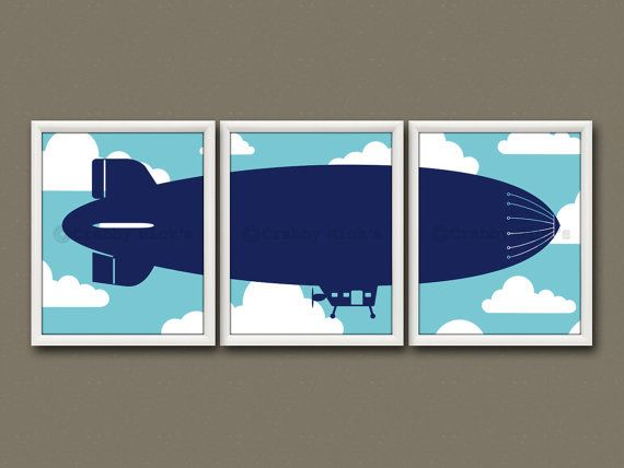 8x10 (3) NURSERY PRINTS - Nursery Art, Nursery Decor, Children's Art - Vintage Dirigible, Zeppelin, Aviation
