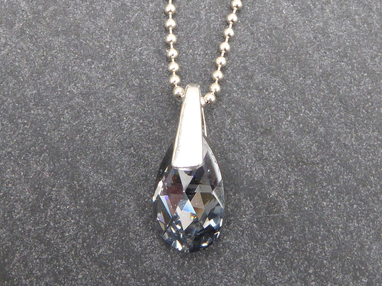 collier argent goutte cristal swarovski