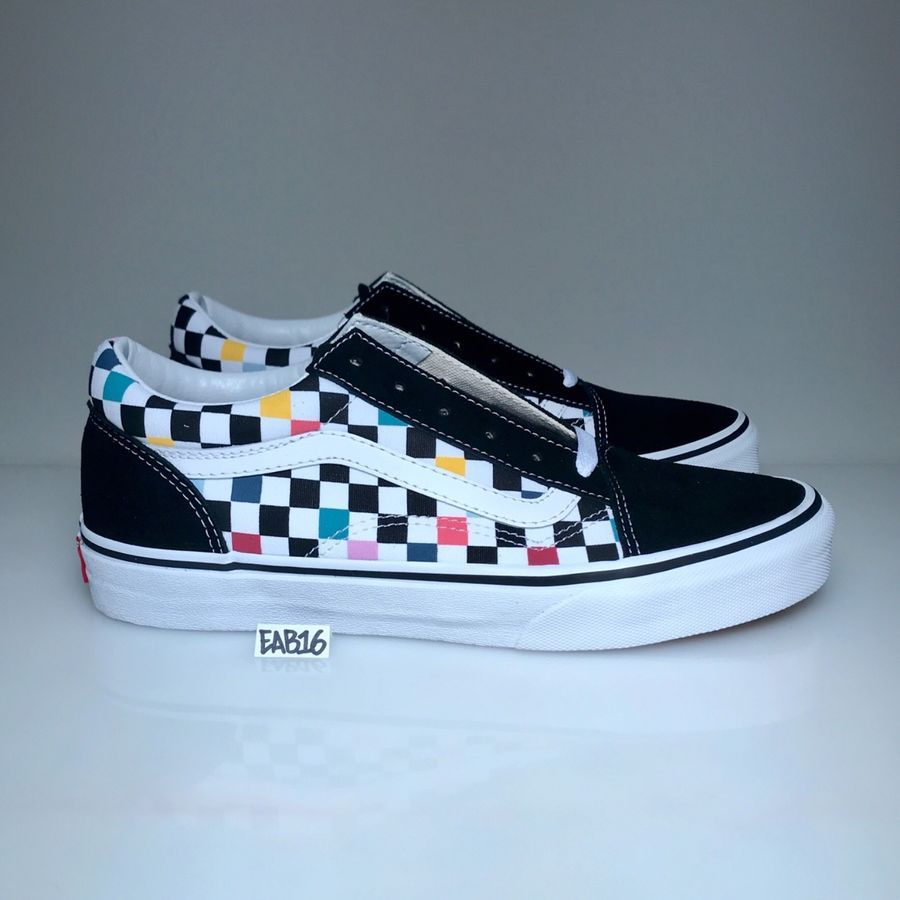 Vans Old Skool Checker board Party Multi Color Rainbow Black White Pink  Blue Red board Party Multi 2848a5b7001