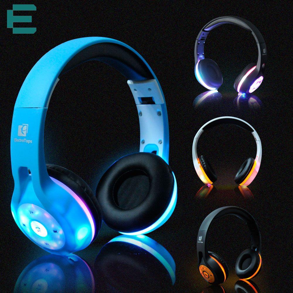 Bluetooth led light glowing headphones wireless stereo