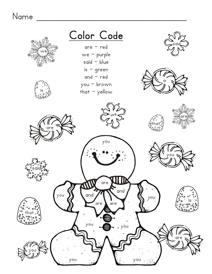 Printable Worksheets color by word worksheets : Gingerbread Man Sight Words: | School | Pinterest | Gingerbread ...