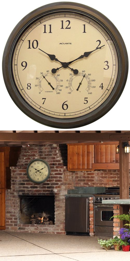 Outdoor Thermometers 75601: Large 24 Inch Atomic Wall Clock Indoor Outdoor  Thermometer Humidity Pool Patio