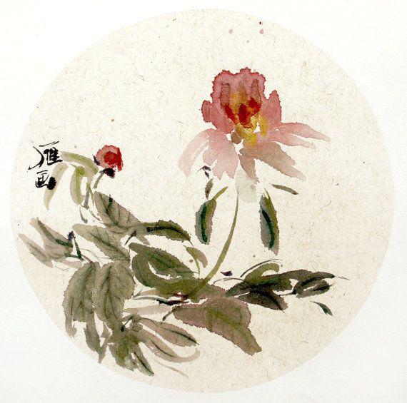 stilllife fruit flower watercolour ink pink green by Yimoartstudio