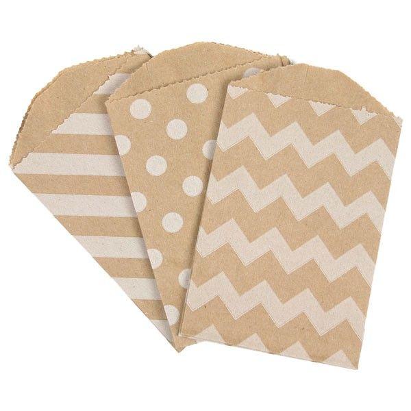 862b18595a0 Brown Kraft Mini Paper Bags in 3 Designs- pack of 10
