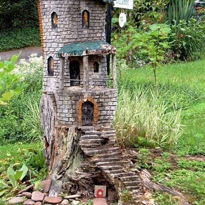 Stump house Fee gartenhäuser, Gnome zuhause, Miniaturgarten