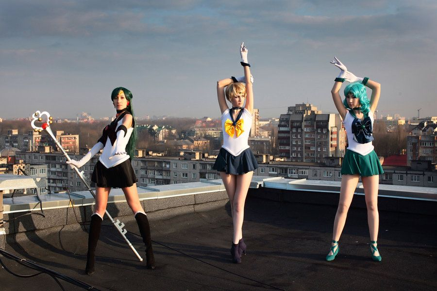Sailor Pluto, Sailor Uranus, & Sailor Neptune, cosplayed by tajfu & neko-tin