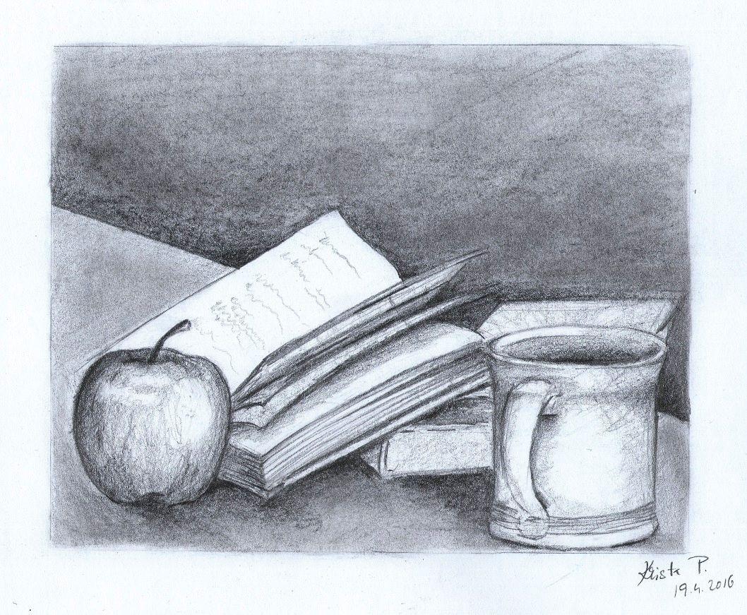 Still life with a book, pencil, artist Kristýna Pavluvčíková.