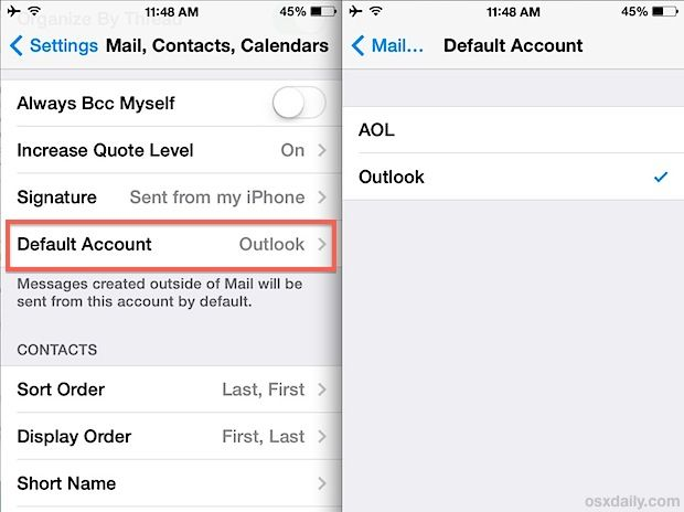 Change the Default Email Address on the iPhone and iPad
