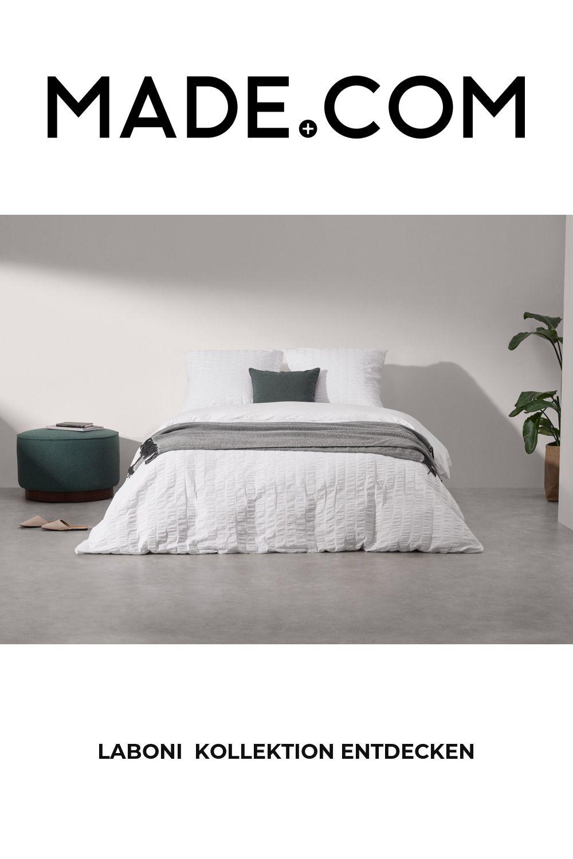 Laboni Seersucker-Bettwäscheset (200 x 200 cm) aus 100 % Baumwolle, Weiß
