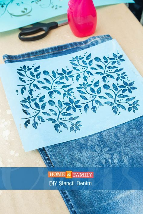 3bcd3350e11 DIY Stencil Denim - Update an old pair of jeans by using bleach to stencil  the denim. DIY by  orlyshani  on Home and Family!