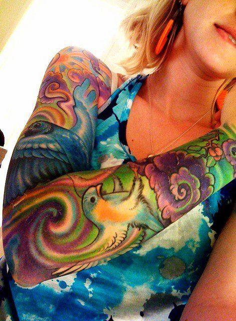 Colorful Tattoo Sleeve Designs: Bright Coloured Tattoo Sleeve