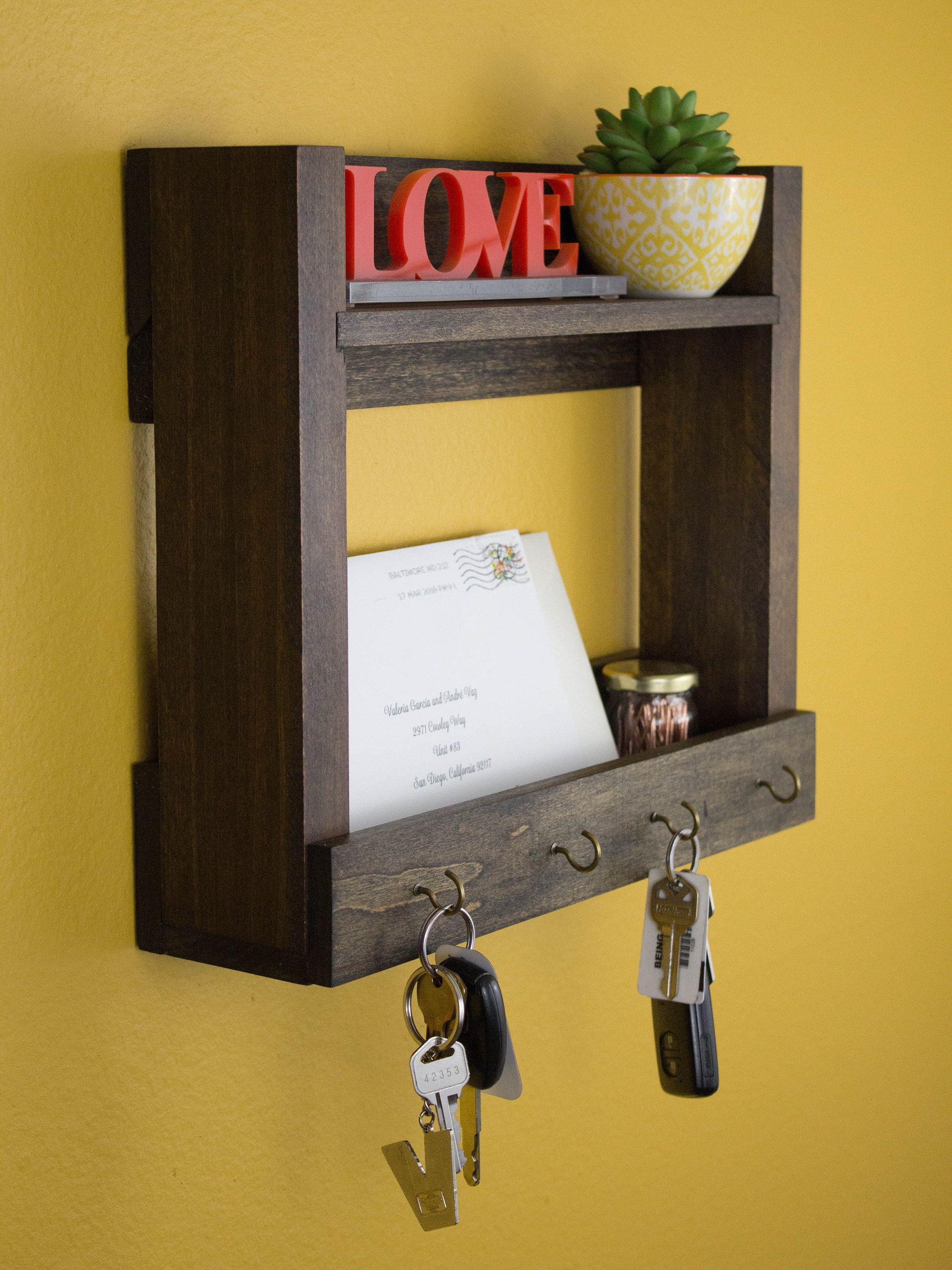 Entryway Key Holder Mail Storage Organizer Coat Rack For Wall Walnut Wood Floating Shelf W Hook Wall Mounted Home