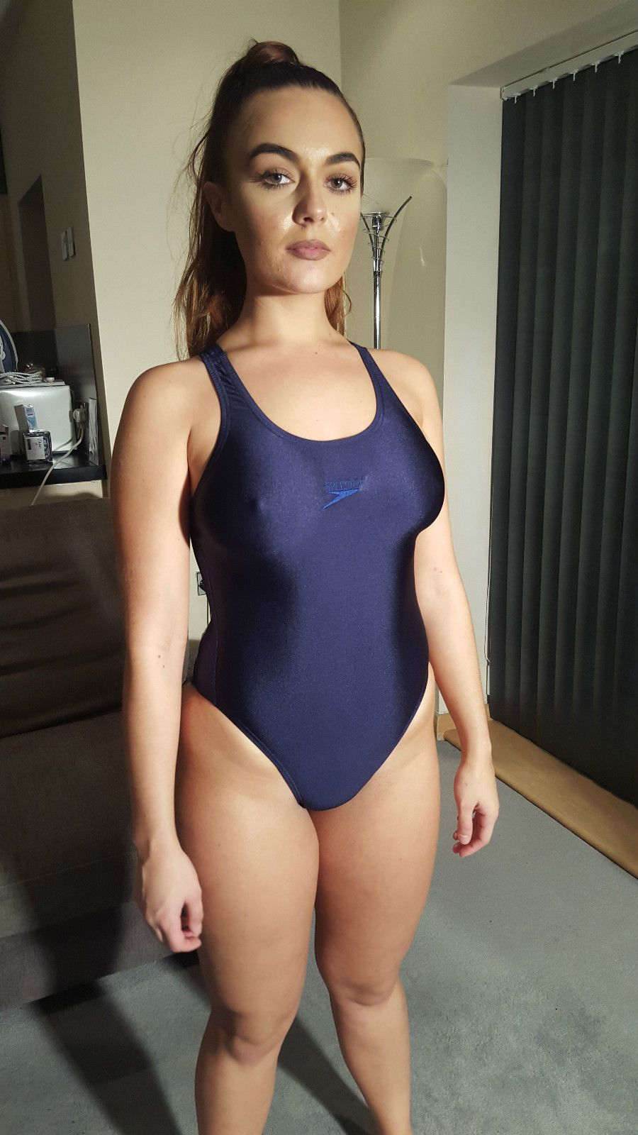 Blue Speedo Racing Swimsuit Swimming Costume Shiny Lycra Spandex UK 34