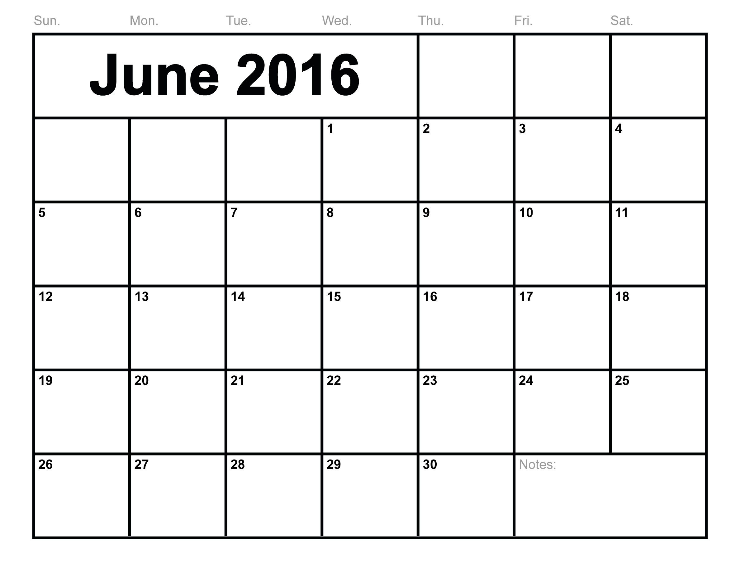 June  Calendar Printable Monthly Blank Calendar  Template