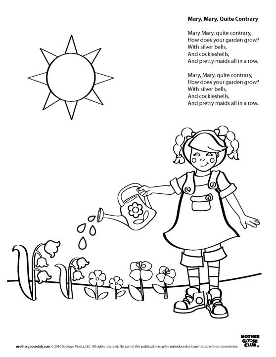 Coloring Pages Mary Mary Quite Contrary Live Speakaboos