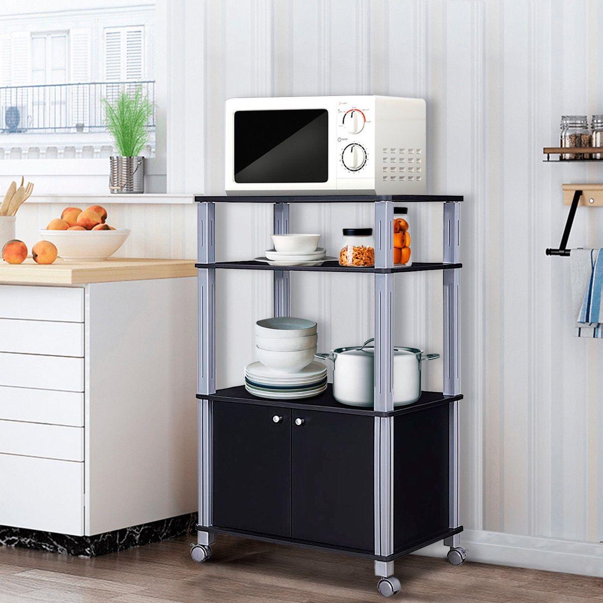 Bakers Rack Microwave Stand Rolling Storage Cart Black Microwave