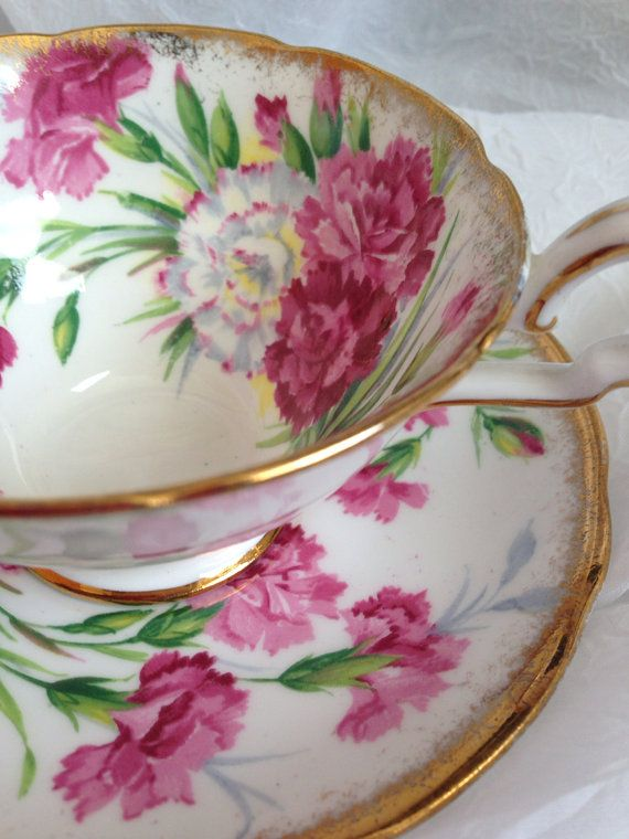 Royal Stafford 'Carnation' Tea Cup & Saucer by GrammiesCedarChest, $24.95