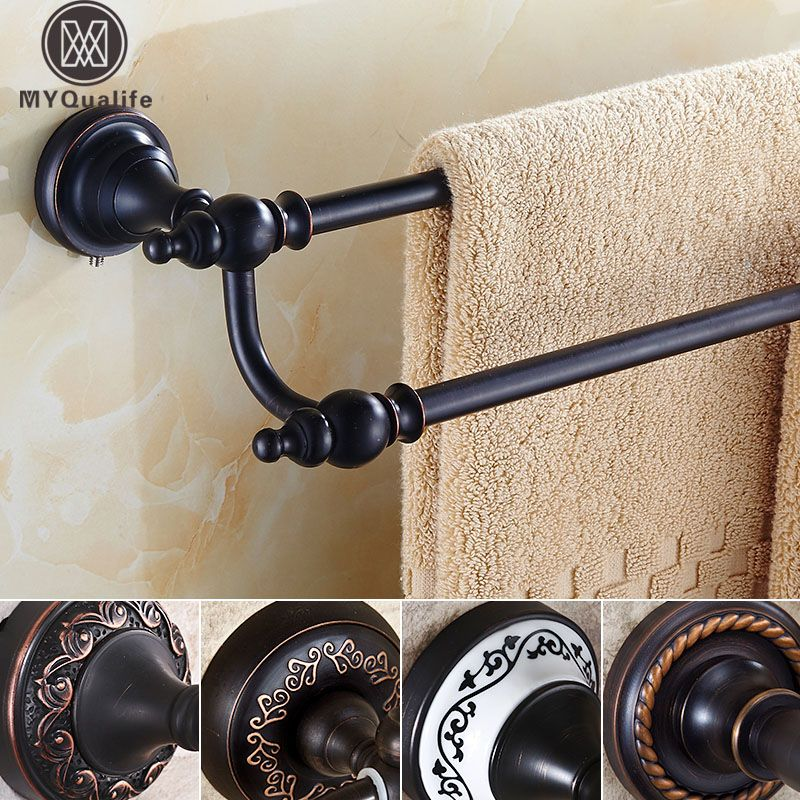 Oil Rubbed Bronze Towel Bar 60 64cm Bathroom Accessories Set Double Towel Rail Holder Wall Mou Wall Mounted Towel Holder Bronze Bathroom Accessories Towel Rail Oil rubbed bronze towel bars