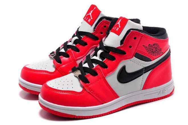 Red/Black/White OG Colorway Nike Michael Jordan Retro 1 Basketball Shoes  for Kids