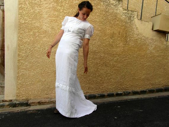 Maxi wedding dress, confirmation dress, 70's fashion, cotton, size S, boho wedding dress, vintage clothing, retro clothes, French vintage #confirmationdresses Maxi wedding dress confirmation dress 70's fashion #confirmationdresses