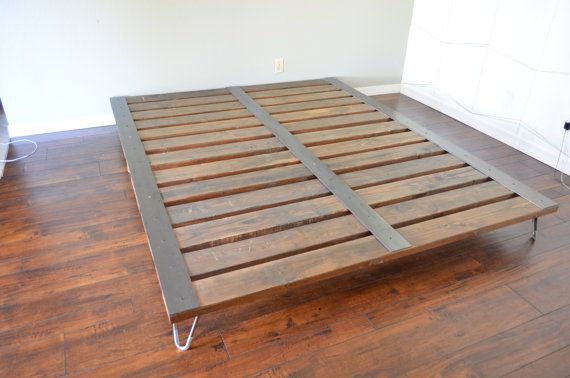 Overview Contemporary Industrial Platform Bed With Hairpin Legs