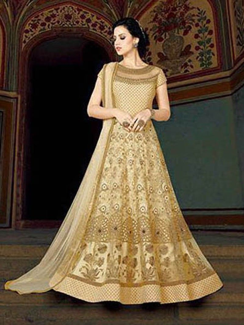 3022c3b1db19 Gold Color Indian Ethnic Bollywood Designer Floor Length Party ...