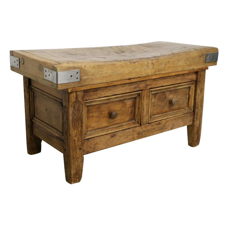 1800 S French Butcher Block Table W Drawers 1stdibs